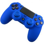 TCOS TECH Protective Silicone Case Blue with 2 Blue Silicone Thumb Grips for Sony PS4 Controller