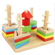 Pixnor Wooden Toys Geometry Column Shape Sort Building Blocks Set Matching Educational Game