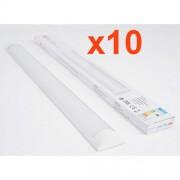 Silamp Réglette Lumineuse LED 60cm 18W (Pack de 10) - couleur eclairage : Blanc Froid 6000K - 8000K