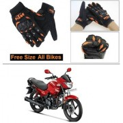 AutoStark Gloves KTM Bike Riding Gloves Orange and Black Riding Gloves Free Size For Hero Glamour FI