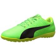 PUMA Men's Evopower Vigor 4 TT Soccer Shoe, Green Gecko-Puma Black-Safety Yellow, 5 M US