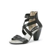 【40%OFF】レザー ラウンドメタル サンダル ブラック 38 ファッション > 靴~~レディースシューズ