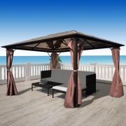 vidaXL Pavilion cu perdea, maro, aluminiu, 400 x 300 cm