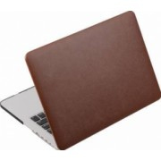 Husa din piele ecologica Krasscom pentru MacBook New Pro 15.4 inch 2016 2017 A1707 maro