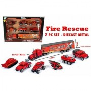 Mini Die Cast Metal Fire Rescue Vehicle Trucks Toys Play Set for Kids 7 Pieces