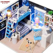 iiE Create Space Universe Doll House Wooden Houses Furniture Miniature Toy With Dust Cover