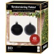 Bellatio Decorations Kerstbal en ster piek set 45x zwart voor 120 cm boom