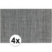 Geen 4x Placemats met geweven print grijs 45 x 30 cm