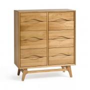 Oak Furnitureland Natural Solid Oak Chest of Drawers - Wideboy - Ellipse Range - Oak Furnitureland