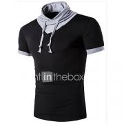 Effen-Informeel / Sport-Heren-Katoen-T-shirt-Korte mouw Zwart / Wit / Grijs