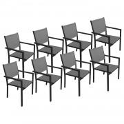 Happy Garden Lot de 8 chaises en aluminium anthracite - textilène gris