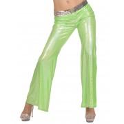 Calças disco holográficas verdes mulher