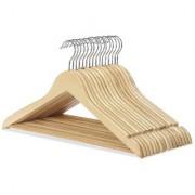 6th Dimensions Wooden Coat Trouser Skirt Garment Natural Wood Hanger (Set of 12 Pcs)