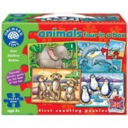 Set 4 Puzzle Animale 4 6 8 and 12 piese ANIMALS FOUR IN A BOX