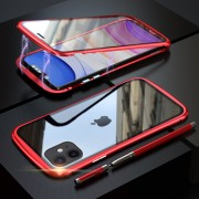 LUPHIE Magnetic Metal Frame Tempered Glass Phone Cover for Apple iPhone 11 6.1 inch - Red