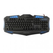 Клавиатура SBOX WHITE SHARK GK-1621B, гейминг, синя подсветка, черна, USB