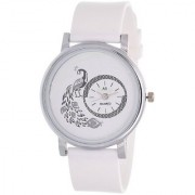 Glory White New style Peacock Dial Fancy Collection PU Analog Watch - For Women by JAPAN STORE