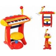 Set Orga pentru Copii cu Stativ Scaunel si Microfon Culoare Rosu