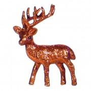 Geen Oranje deco rendier met glitters 10 cm