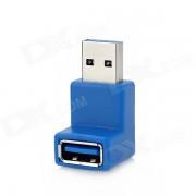 adaptador de angulo recto USB 3.0 macho a hembra - azul - plata