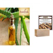 Pure and Natural Aloe Vera Oil - 250ml with Argussy Cinnamon and Black Sesame Whitening Spa Soap