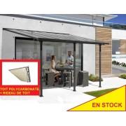 Pergola alu 5x3m avec rideau de toit
