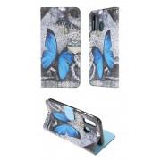 Samsung Galaxy A40 / SM-A405 (калъф кожен) 'Blue Butterfly'