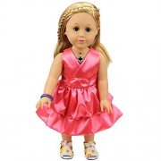Baby Doll Clothes Pretty Summer Pink Party Dress Silky V Neck Sleeveless Clothing for 14 -16 Inches American Girl Dolls by XADP