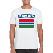 Bellatio Decorations T-shirt met Gambiaanse vlag wit heren