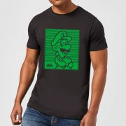 Nintendo Super Mario Luigi Retro Line Art Men's T-Shirt - Black - XL - Black