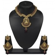 VK Jewels Goddess Laxmi Gold Plated Temple Necklace with Earrings- NKS1175G [VKNKS1175G]