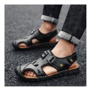 Moda Verano suela antideslizante Slip-on zapatillas zapatos planos de Cuero Hombre Sandalia Negro