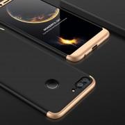 GKK Para Huawei Honor 9 Lite Tres Párrafo 360 Grados De Cobertura Completa PC Funda Protectora Tapa Trasera (negro + Oro)