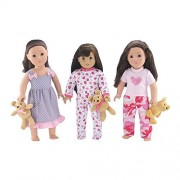"18-inch Doll Clothes | Value Bundle - Set of 3 Doll Pajamas, Each with Teddy Bear, Including ""Onesie"" Lady Bug PJs, Lovely Ruffled Nightgown, and 2 Piece Pink Camo PJs 