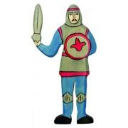 Fa játék figurák - lovag, harcoló, kék