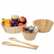 3er Set Schüssel + Salatbesteck HWC-B98, Servierschüssel Dekoschale stapelbar Servierbesteck Küchenzubehör, Bambus ~ Variantenangebot