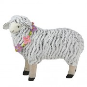 """Northlight 13"""" White and Black Plush Standing Sheep Spring Easter Figure"""