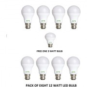 HFK 12 Watt High Quality LED Bulb Pack of 8 With Free One 3 Watt Bulb (Warranty 6 Months)
