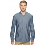 John Varvatos Button Down Banded Collar Shirt Indigo