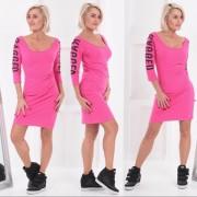 V&V Dámské elastické šaty RAGGED - růžové - V&V