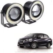 Auto Addict 3.5 High Power Led Projector Fog Light Cob with White Angel Eye Ring 15W Set of 2 For Honda Amaze