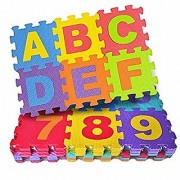 Eva Foam 36 Pcs Pack Alphabet Numerals Crawling Mini Puzzle Mats (10 mm thick) - Multicolored (36 Pieces)