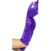 Draperade Handskar med Skinande Tyg – Lila