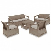 Corfu max set kerti bútor garnitúra, cappuccino színben, homok párnával