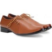 Axonza AXONZA Men's Synthetic Leather Office wear 101 Tan Side less Formal Shoes Lace Up For Men(Tan)