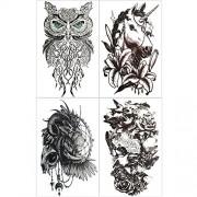 Hakuna 4 Sheets Temporary Tattoos for men, Lion/ Unicorn/ Owl/ Sparrow Fake Tattoo Stickers