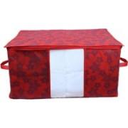 Kuber Industries Metalic Floral Underbed Storage Bag,Storage Organiser,Blanket Cover Set of 1 Pc CTKNEW362 CTKNEW0362(Maroon)