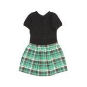 【89%OFF】チェック切替 半袖 ドッキングドレス グリーン 8y ベビー用品 > 衣服~~ベビー服