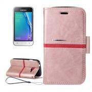 Samsung Galaxy J1 Mini Case, J1 Nxt Case, J105 Case, Crazy Horse Texture Horizontal Flip PU Leather Case with Holder & Card Slots & Wallet & Photo Frame & Lanyard (Rose Gold)