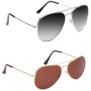 Joe Louis Aviator Sunglasses(Black, Brown)